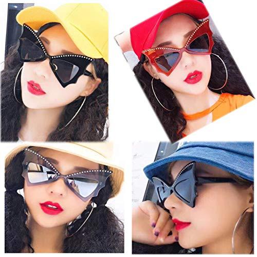 Black Sunglasses Eyeglasses Frame Trendy Prom Bow Glasses Eyewear Personality Big Lens Sunglasses Wild Rivet Sunglasses Bat Trend Sun Frame grey waSAqR