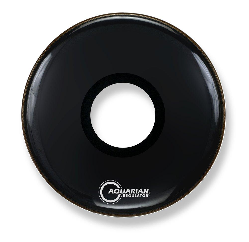 Aquarian Drumheads RPT18BK Regulator Black 18-inch Bass Drum Head, gloss black