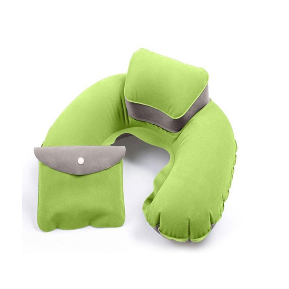 Kayphil Pillow Inflatable U Shape Pillow Cushion Soft Washable Neck Pillow (green)
