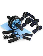 TOMSHOO Appareils de Fitness 5 en 1 Roue Abdominale + Poignée de Pompe + Corde à Sauter + Pince à Main + Tapis pour Genou Kit Complet pour Fitness Exercices Musculation