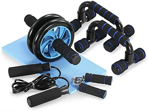 TOMSHOO Kit de Rueda Abdominal, Push Up Bars, Cuerda para Saltar, Fortalecedor de Mano, Rodilla Mat para Entrenamiento en Casa Ejercicios Fitness