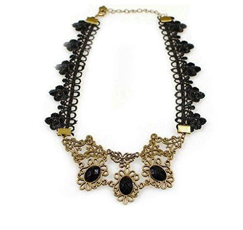 Half Demon Half Angel Costume (Aooaz Lace Black Choker Necklace Copper Necklace Black Cubic Zirconia Necklace For Women Girls Gothic)