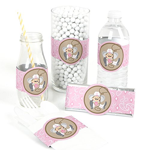 Little Cowgirl - DIY Party Supplies - Western Baby Shower or Birthday Party DIY Wrapper Favors & Decorations - Set of 15