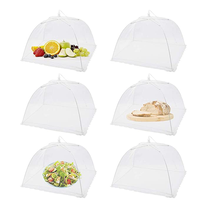 (6 Pack) Pop-Up Picnic Mesh Food Covers Tent Umbrella for Outdoors and Camping Food Net Cover Keep out Flies Mosquitoes Ideal for Parties Picnics BBQ, Reusable and Collapsible 17 x 17inches
