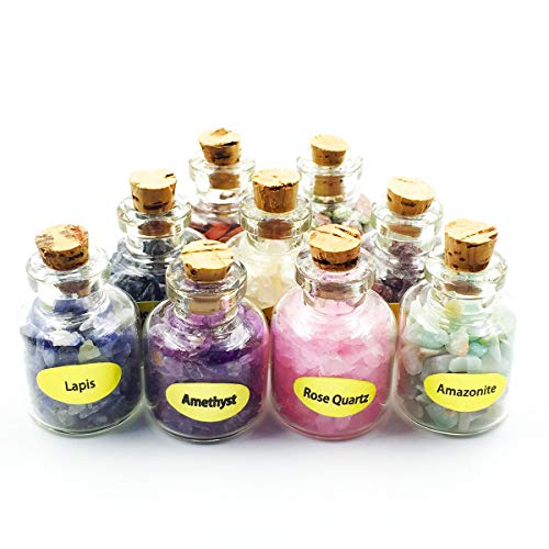 favoramulet 9Pcs Mini Semiprecious Chip Stone Wishing Bottles Healing Crystal Tumbled Pieces Reiki Wicca with ()