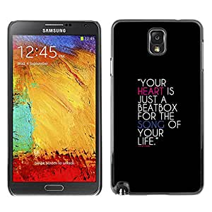 ROKK CASES / Samsung Note 3 N9000 N9002 N9005 / YOUR HEART IS A BEATBOX / Delgado Negro Plástico caso cubierta Shell Armor Funda Case Cover
