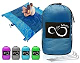 Sand Free Compact Outdoor Beach / Picnic Blanket- Huge-9' x 10' For 7 Adults- Best Mat For Festivals & Hiking-Very Soft & Quick Drying Ripstop Nylon- 5 Weightable Pockets (Dark Blue Middle)