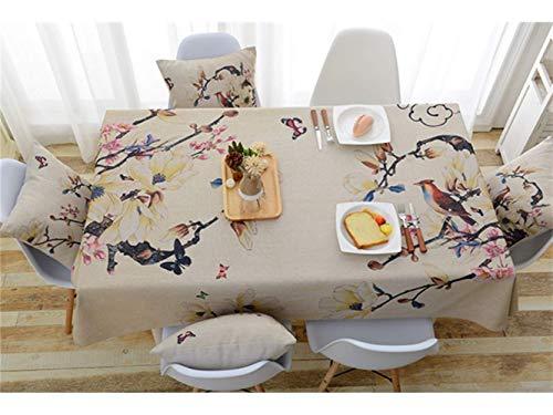 YI KUI Nappes Nappe Frais Fleurs de Polyester Rectangle Creative et Nappe Motif Oegel pour la Maison Cuisine du Jardin Usage extérieur (Couleuré) OrneHommest