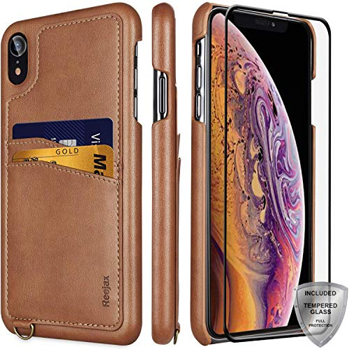iPhone XR Cases with Glass Screen Protector,Slim Wallet Case with ID/Credit Card Holders,Luxury Brown Leather Case for Men Women Protective Cover Phone Case for iPhone XR [6.1