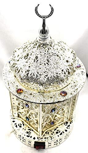 Electric Bakhoor Burner Electric Incense Burner Camphor- Oud Resin Frankincense Camphor Positive Energy Gift - WF- A030 -Silver