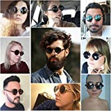 GY Gothic Polarized Sunglasses for Men, Round Metal Frame, Retro Steampunk Sun Glasses Women, UV400 Protection Lens