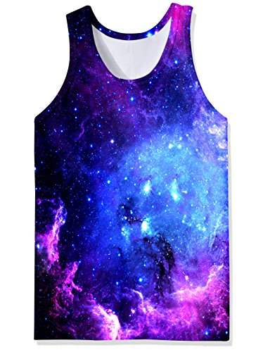 Freshhoodies Men's 3D Tank Tops Graphic Galaxy Space Undershirts Novelty Trendy Sleeveless Training Workout Gym Tank Shirts Recreation Popular Summer Clothing for Man Gay Guy Junior Boys, X-Large