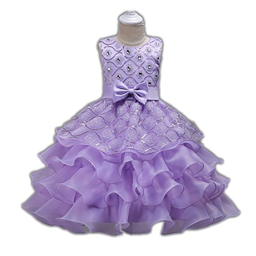 Beauty Pageant Dresses for Girls Sleeveless Size 10 Knee Length Party Wedding Graduation Prom Bridesmaid Ruffles Dresses for Girls 12-14 Tutu Tulle Ball Gown Teen Girl Royal Age of 11 ( Purple 150 ) (Beauty Pageants Dresses)