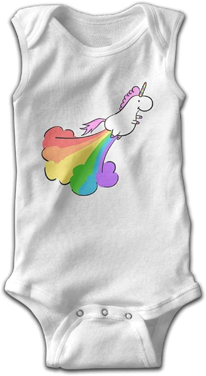 Unicorn Poop Rainbow Infant Baby Sleeveless Bodysuit Romper
