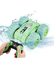 Faylor Remote Control Car Waterproof Stunt Car- 2.4Ghz 4WD Off Road Water & Land Rc Cars-Double Sides Stunt Car with 360° Spins & Flips Racing Car Toys for Kids Christmas Birthday Gift, Green