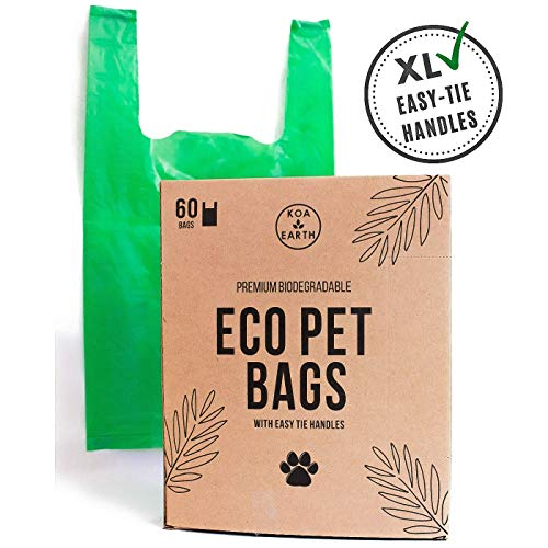 Koa Earth Compostable Poop Bags with Easy-Tie Handles, Premium Large Poop Bags for Dogs/Cat Litter Bags, Leak-Proof…