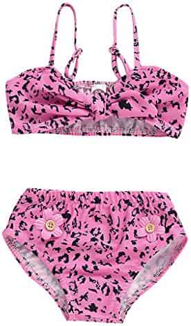 ac0f47a67b 2Pcs Girls Bikini Beach Set,Toddler Baby Girls Swimsuits Two Piece Printed  Bow Swimwear Bathing