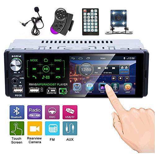 Hikity Single Din Car Stereo 4 1 Inch HD Touch Screen Radio Bluetooth FM AM  Receiver Support USB/SD/AUX Input+ Backup Camera/Steering Wheel