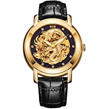 BOS Men's Mechanical Waterproof Business Skeleton Watch of Gold Plated Hollowed Chinese Dragon-White 9007G