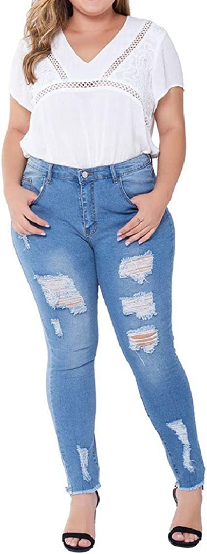 Tootess Women's Ripped Hole Skinny High Waisted Stretch Pencil Denim Jeans