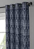 Window Elements Juneau Printed Cotton Extra Wide 104 x 96 in. Grommet Curtain Panel Pair, Blue