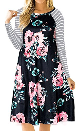 Print Striped T-shirt (QIXING Women's Floral Print Casual Long Sleeve A-Line Loose T-Shirt Swing Dresses Black-S)