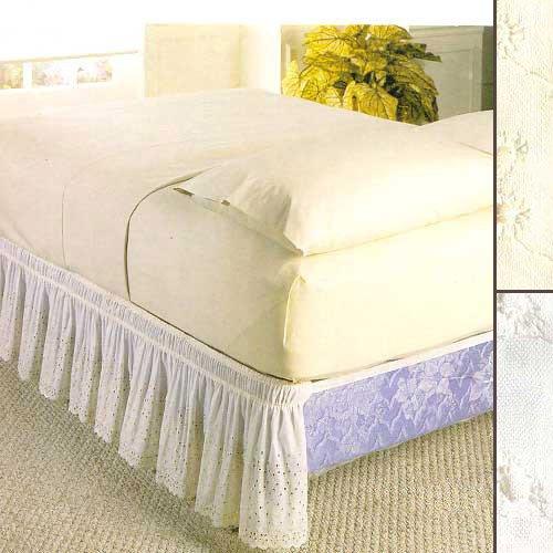 Eyelet Bed Ruffle - Madison EYE-WRAP-T/F-BG Wrap-Around Bed Ruffle, Twin/Full, Beige