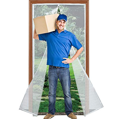 """Magnetic Screen Door with Heavy Duty Reinforced Mesh Curtain, Fits Door Size up to 36""""X82"""" Max- White"""
