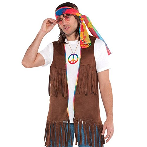 70s Jackets, Furs, Vests, Ponchos Amscan Long Hippie Vest Costume (4 Piece) Multicolor One Size $17.40 AT vintagedancer.com