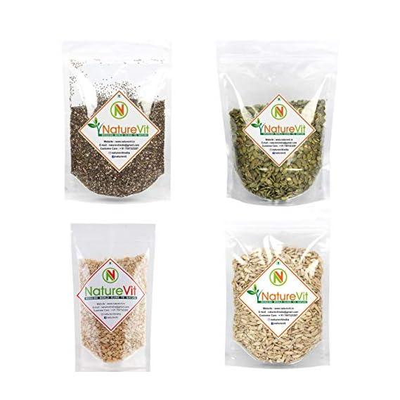 NatureVit Healthy Raw Seeds Combo Watermelon, Pumpkin, Sunflower, & Chia, 200gm [Pack of 4]