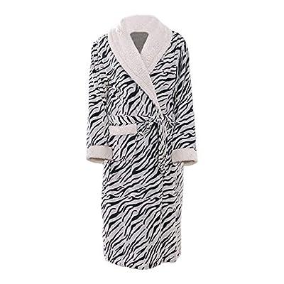 Women's Zebra Pattern Fleece Robes Belted Plush Long Shawl Kimono Bathrobe
