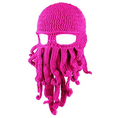 ECYC Tentacle Octopus Face Mask Winter Warm Knitted Squid Beanie Balaclavas,Rose