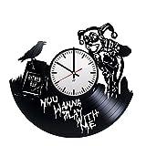 Life is life Modern Vinyl Record Wall Clock with Harley Quinn Figure Design - Unique Home Wall Decor - Original Gift Idea for Men and Women - Exclusive Comics Superhero Fan Art