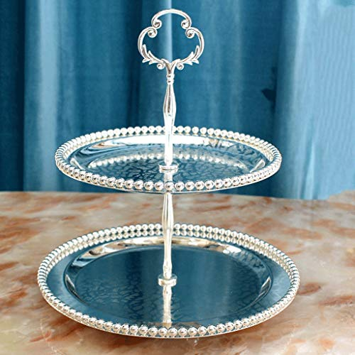 SLH Round European Dessert Plate Two-tier Fruit Plate Wedding Snack Stand Afternoon Tea Set Dried Fruit Plate Cake Plate (Color : Silver)