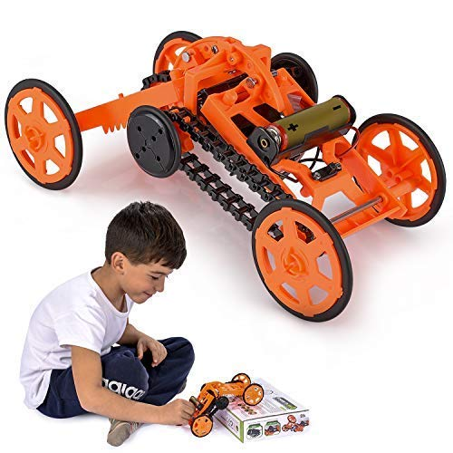 Engineering Stem DIY Car Assembly Gift Toy for Boys Kids & Adults - 4WD Electric Mechanical Construction Car Kit, Real Cool Motor Climbing Vehicle for Science Experiments & Circuit Building Projects