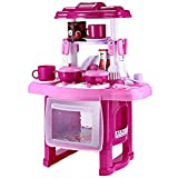 Robolife Kids Kitchen Cookware Little Pretend Play Toy Set with Music Light for Kids 3+ Pink