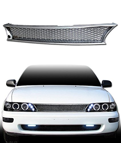 VXMOTOR - Chrome T-R Mesh Front Hood Bumper Grill Grille Replacement Cover Abs 1993-1997 Toyota Corolla (Hood Toyota 1997 Corolla)
