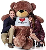 Giant Teddy Personalized Life Size 6 Foot Bear Cuddles with Red Heart T-Shirt (Mocha Brown)