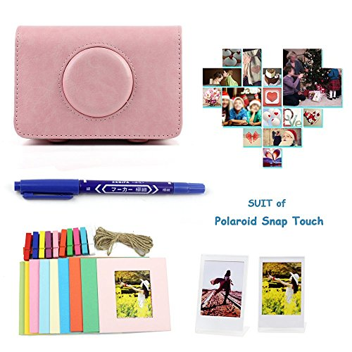 Gvirtue 4 in 1 Accessories Bundles for Polaroid Snap Touch Instant Camera (Snap Touch Case/Wall Hang Frames/L Model Photo Frame/Marker) - Pink ()