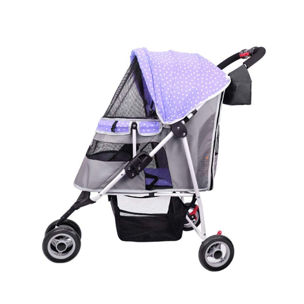 Purple 3-Wheel Folding Trolley Assemble Easily Pet Strollers Suitable for Small Cat and Dog Outdoor Travel,Purple