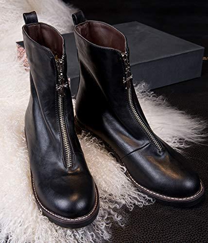 Métal Aisun Avec Courte Breloque Classique Noir Bottes Tige Zip Femme qFxX6wFR