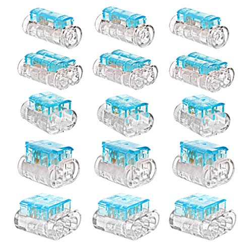 WATER'S GOOD Wire Connector Crimp Kit 2 Pin, 3 Pin, Staight Joint, 2 Way Staight Joint, T Joint Wire Splice Terminals 16-14AWG 15 Pcs Blue by WATER'S GOOD