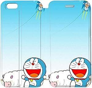 Funda iPhone 6 del teléfono celular de 5.5 pulgadas de cuero del tirón de la caja de la PU para el Funda iPhone 6 Plus 5.5 pulgadas del teléfono celular del tirón de la caja del cuero de la PU cubierta del Funda para Doraemon W4J4TB Claro Funda iPhone Fundas de Cuero
