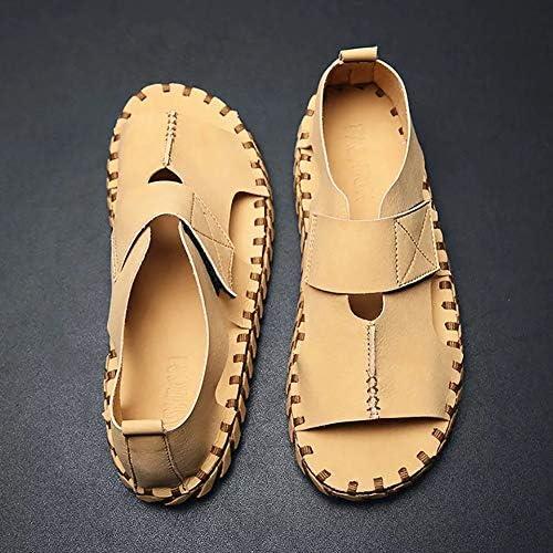 UELEGANS Herren Leder Sommer Outdoor Sandalen, Atmungsaktive rutschfeste Beach Schuhe, Studenten Flache Boden Lässig Wilde Sandals,Apricot,39