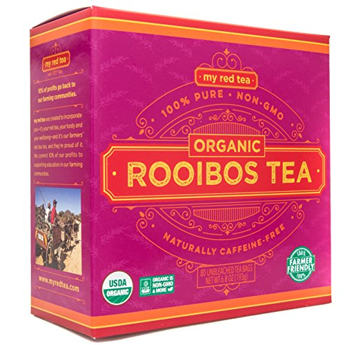 Rooibos Tea, USDA Certified Organic Tea, MY RED TEA. Tagless South African, 100% Pure, Single Origin, Natural, Farmer Friendly, GMO and Caffeine Free (80) ()