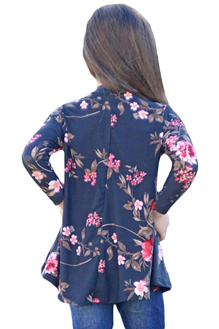 YIHUAN Girls Long Sleeve Floral Key Hole Front Shirts Blouse Top 4-13 Years