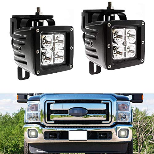 iJDMTOY LED Pod Light Fog Lamp Kit For 1999-2016 Ford F250 F350 F450 Super Duty, Includes (2) 20W High Power CREE LED Cubes, Foglight Location Mount Brackets & Wiring/Adapter Harnesses