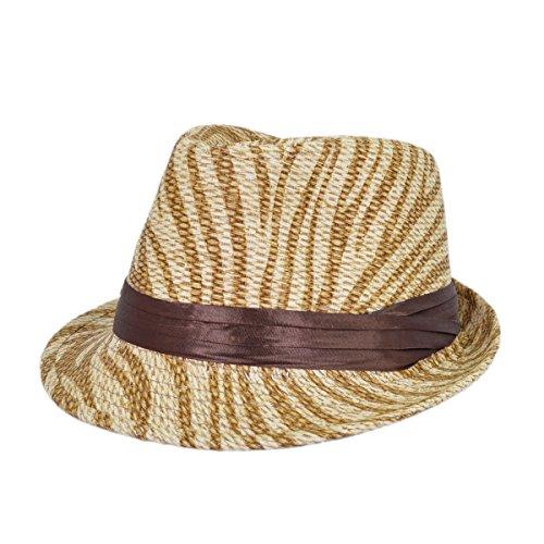 Light Brown Zebra Print Ribbon Band Fedora Straw (Zebra Hats)