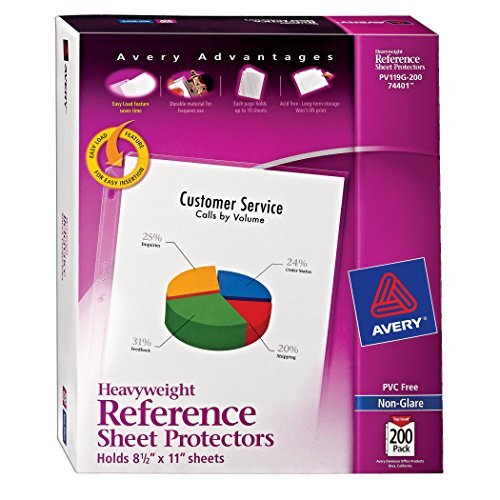 Avery Non-Glare Heavyweight Sheet Protectors, Top Loading, Box of 200 (74401)