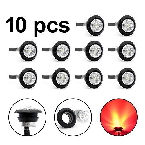 10 Pcs LedVillage 2nd Generation 3/4 Inch Inch Mount Clear Lens RED Light LED Bullet Marker Lights, Side Led Marker for Truck Boat SUV ATV Bike Trailer Marine